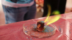 Chemical experiments. green fire Stock Footage