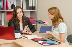 She holds diplomas skilled personnel that she does not want to look Stock Photos