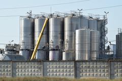 Tanks for preparation of champagne Stock Photos