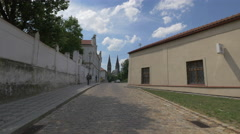 Saint Peter and Paul Cathedral's towers seen from K Rotundě Street, Prague Stock Footage