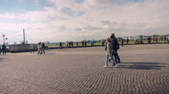 Crowded Rhine Promenade Oldtown of Düsseldorf Germany Stock Footage