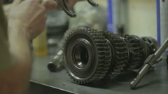 Mechanical drive and collects sports box. repair the drive and gearbox - stock footage
