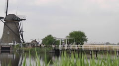 A Great Dutch Windmill & Bridge - stock footage