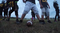 Youth Pop Warner Football Team Offensive Line  Stock Footage