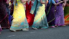Women dancing in Hindu traditional colorful costumes Stock Footage