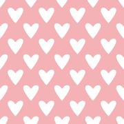Tile vector pattern with white hearts on pastel pink background - stock illustration