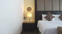 Hotel bedroom interior Stock Footage