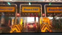 A time lapse of traffic jam in the rain from the driver's view Stock Footage