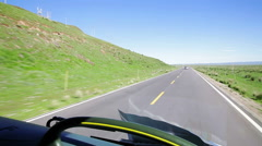 Driving a bus on a country road,Qinghai,China. Stock Footage