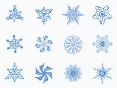 Seamless winter background with snowflakes - stock illustration