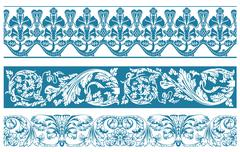 Vector color set. Ornate borders and vintage scroll elements Stock Illustration
