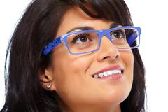 Asian business woman with eyeglasses. - stock photo