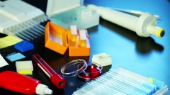 Specimen Preparation - Scientist Or Lab Technician Prepares A Microscope Slid Stock Footage