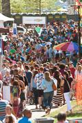 Huge Crowd Moves Through Atlanta Dogwood Festival - stock photo
