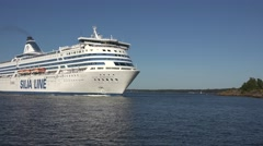 MS Silja Symphony passing through the Kustaanmiekka strait, Suomenlinna, Finland Stock Footage