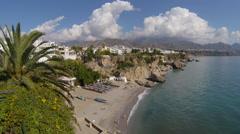 Coastline and beach of Playa Catahonda at Nerja, Spain. Stock Footage