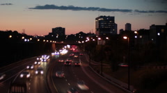 Traffic on highway at dusk timelapse Stock Footage