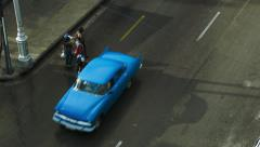 Aerial view on classic american cars on a street in Havana Stock Footage