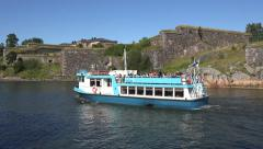A JT-Line waterbus (in 4k) on Suomenlinna, Helsinki, Finland. Stock Footage
