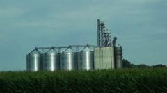Storage Silos Drive by Stock Footage