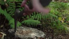 Axe pulled from wood stump Stock Footage