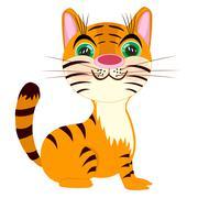 Striped tigress on white background Piirros