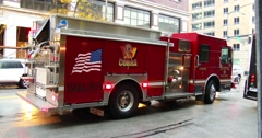 Fire Engine - Side View - Lights Flashing  Stock Footage