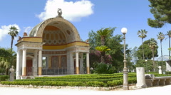 Beautiful building in public park in Palermo, Sicily, Italy. Stock Footage