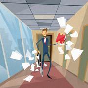 Businessman Run From Office Document Papers Fly Around - stock illustration