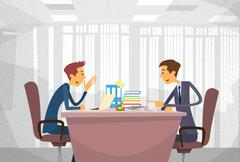 Two Business Man Talking Discussing, Businessmen Chat Sitting Office Desk - stock illustration