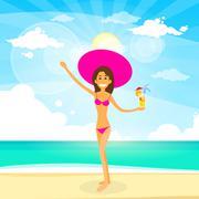 Woman On Summer Beach With Cocktail, Girl Flat Design Stock Illustration