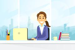 Business Woman Sitting at Desk in Office Working Laptop Computer - stock illustration