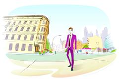 Fashion Man Suit City Street Hand Draw Sketch - stock illustration