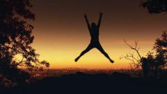Slow motion female jump Stock Footage