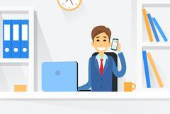 Business Man Sitting Desk Working Laptop Computer Stock Illustration
