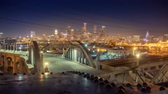 Historic 6th Street Bridge and downtown at night. Los Angeles. 4K UHD timelapse. Stock Footage