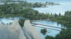 Bluffs and water treatment reservoir Stock Footage