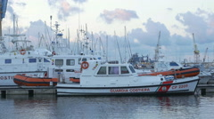 Coast guard boat. Port of Palermo, Sicily, Italy. Stock Footage