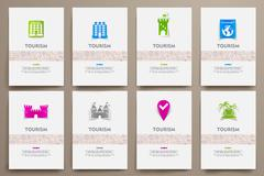 Stock Illustration of Corporate identity vector templates set with doodles tourism theme