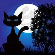 Wild panther on nature in the night - stock illustration