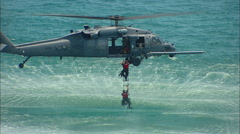 Sikorsky UH-60 Black Hawk Helicopter Seal Team Recovery 3 Stock Footage