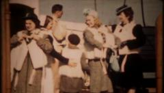2656 - lifeboat drill on passenger ship, life jackets on-vintage film home movie - stock footage