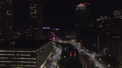 Aerial video Downtown Boston at night Stock Footage