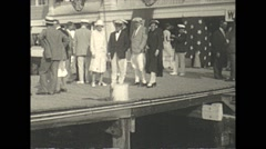 Vintage 16mm film, 1926, New Jersey, well dressed people on pier Stock Footage