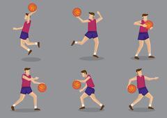 Basketball player with Basketball Vector Illustration - stock illustration