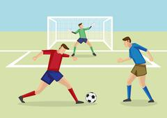 Striker Dribbling Soccer Ball in Penalty Area - stock illustration