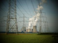 Germany NRW Industrial Smoke Steam discharging to sky Coal Power plant - stock photo