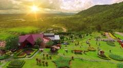 Beautiful mountain resort area Stock Footage