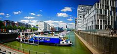 Europe Germany Cologne Köln Koln Koeln Crane Buildings Rheinauhafen - stock photo