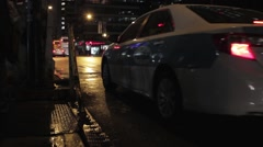 Cab at night Stock Footage
